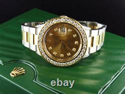 Rolex Datejust Two Tone 36MM 18K/ Steel 16013 Oyster Band Diamond Watch 7.35 Ct