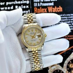 Rolex Datejust Two-tone 36mm White MOP Diamond Dial Diamond Bezel 36mm Watch