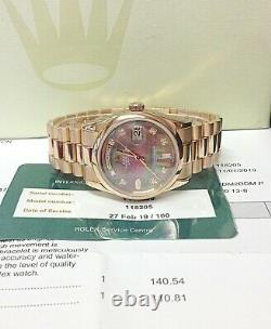 Rolex Day Date 36mm 118205 Black MOP Diamond Dial Rose Gold SERVICED
