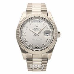 Rolex Day-Date II White Gold Rhodium Roman Dial President Bracelet Watch 218239