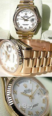 Rolex Day-Date President 118238 18k Yellow Gold White Roman Dial 36mm Watch