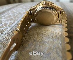 Rolex Day Date President 18K Yellow Gold White Roman Dial Diamond Bezel 18038