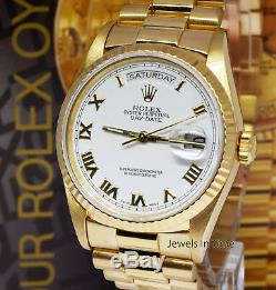 Rolex Day-Date President 18k Yellow Gold White Roman Dial Mens 36mm Watch 18238