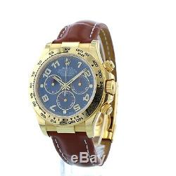 Rolex Daytona 116518 40mm 18ct Yellow Gold Case Leather Bracelet Box/Papers 2009