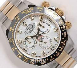 Rolex Daytona 116523 Two Tone 18k/SS Watch-White MOP Diamond Dial-Black Ceramic