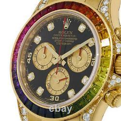 Rolex Daytona Yellow Gold Rainbow Factory Gem Bezel Watch 116598RBOW