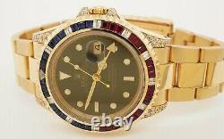 Rolex GMT Master II 16718 Heavy 18k Gold Diamond Ruby Sapphire Bezel Mens Watch