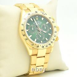 Rolex GREEN Daytona 116528 in Gold on Oyster Bracelet (R-78)
