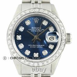 Rolex Ladies Datejust 18K White Gold & Stainless Steel Blue Diamond Dial Watch