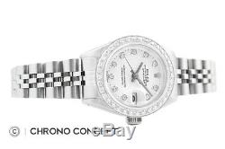 Rolex Ladies Datejust 18K White Gold & Stainless Steel White Diamond Dial Watch