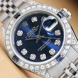Rolex Ladies Datejust Blue Diamond Dial 18k White Gold & Steel Quickset Watch