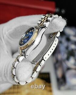 Rolex Ladies Datejust Gold & Steel 26mm Quickset 69173 Box Custom Diamond Dial