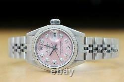 Rolex Ladies Datejust Pink Diamond 18k White Gold Stainless Steel Quickset Watch