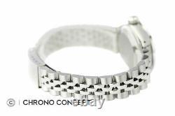 Rolex Ladies Datejust Silver Diamond Dial 18K White Gold Sapphire Bezel SS Watch