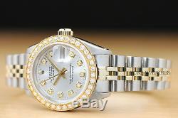 Rolex Ladies Datejust Silver Diamond Dial 18k Yellow Gold & Steel Genuine Watch