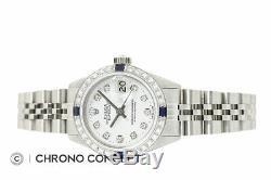 Rolex Ladies Datejust White Diamond Dial 18K White Gold Sapphire Bezel Watch