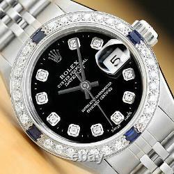 Rolex Ladies Quickset Datejust 18k White Gold Sapphire Diamond & Steel Watch