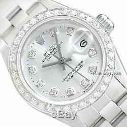 Rolex Ladies Silver Diamond Datejust 18k White Gold & Stainless Steel Watch