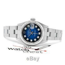 Rolex Lady Datejust Steel & White Gold 79174 Wristwatch Blue Vignette Diamond