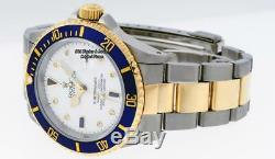 Rolex Men Blue Submariner Date Watch 16613 SS/18K Yellow Gold White Diamond Dial