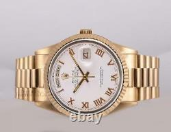 Rolex Men Day-Date 18038 President 18k Solid Yellow Gold Watch-White Roman Dial