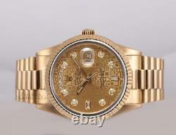 Rolex Men Day-Date 18038 President 36mm 18k Gold Watch-Gold Jubilee Diamond Dial