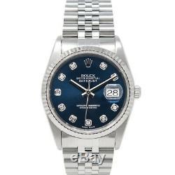 Rolex Men's Datejust White Gold & Steel 16234 Wristwatch Blue Diamond, Jubilee