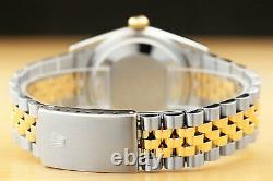 Rolex Mens Datejust 16013 White Diamond Dial 18k Yellow Gold & Steel Watch
