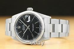 Rolex Mens Datejust 16014 Black Dial 18k White Gold Bezel & Steel Watch