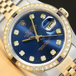 Rolex Mens Datejust 16233 Two Tone 18k Yellow Gold Diamond Sapphire Watch