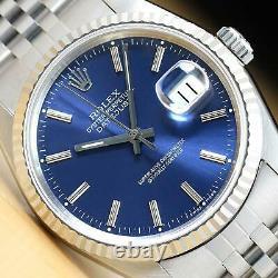 Rolex Mens Datejust 16234 Quickset 18k White Gold & Stainless Steel Watch
