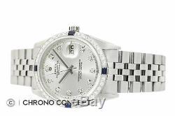 Rolex Mens Datejust 18K White Gold Diamond Sapphire Bezel Watch & Rolex Band