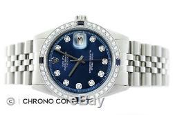 Rolex Mens Datejust 18K White Gold & Stainless Steel Blue Diamond Sapphire Watch