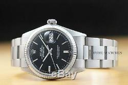 Rolex Mens Datejust 18k White Gold Bezel & Stainless Steel Black Dial Watch