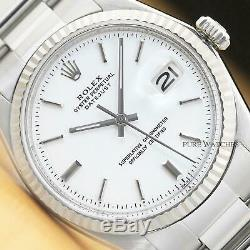 Rolex Mens Datejust 18k White Gold Bezel & Stainless Steel White Dial Watch