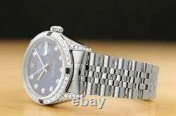 Rolex Mens Datejust 18k White Gold Diamond Sapphire & Steel Quickset Watch
