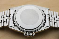 Rolex Mens Datejust 18k White Gold & Stainless Steel Silver Diamond Watch