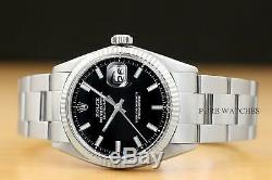 Rolex Mens Datejust Black Dial 18k White Gold Bezel & Stainless Steel Watch