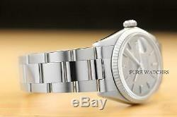 Rolex Mens Datejust Gray Linen Dial 18k White Gold Bezel & Stainless Steel Watch