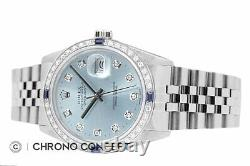 Rolex Mens Datejust Ice Blue Diamond Sapphire 18K White Gold & SS Steel Watch