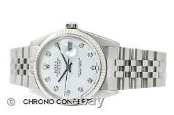 Rolex Mens Datejust Quickset 18K White Gold & Stainless Steel Watch