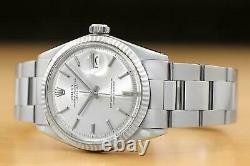 Rolex Mens Datejust Silver Dial 18k White Gold & Stainless Steel Watch