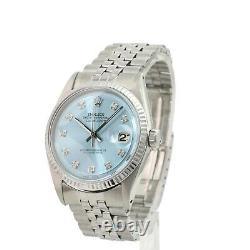 Rolex Mens Datejust Stainless Steel Blue Diamond Dial Fluted Bezel 36mm Watch