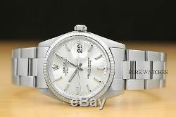 Rolex Mens Datejust Stainless Steel Watch + Rolex 18k White Gold Bezel