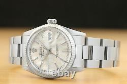 Rolex Mens Datejust Tapestry Dial 18k White Gold/stainless Steel Quickset Watch