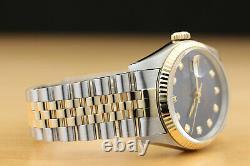 Rolex Mens Datejust Two-tone Quickset Blue Dial Watch 16233 & Rolex Bracelet