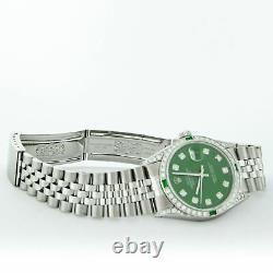 Rolex Mens Datejust Watch Steel-18K White Gold Green Diamond Dial Emerald Bezel