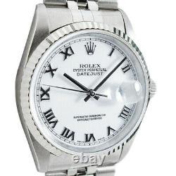 Rolex Mens Stainless WG Bold Roman DateJust Model 16234 SANT BLANC