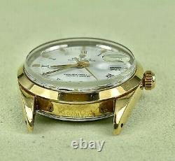 Rolex Oyster Perpetual Date White Dial 34mm Vintage Gold Shell Men's Watch 1550