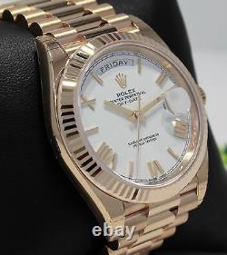 Rolex President 40mm Day-Date 228235 18K Rose Gold White Roman Dial Watch NEW
